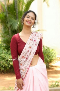 Aditi Myakal in Saree Navel Photos HQ