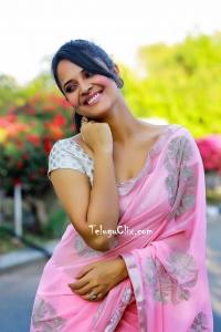 Anasuya in Pink Saree