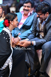 Keerthy Suresh and Chiranjeevi at Siima Awards 2019
